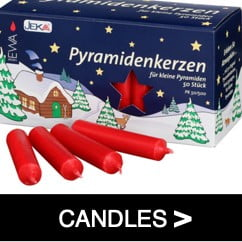 German Pyramid (Pyramidenkerzen) Candles - shown in red and used for German Pyramid and Arches
