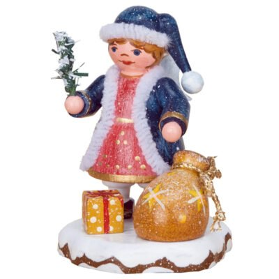 Figurine of Heaven's Child dressed in blue coat with white frindge red dress and two christmas gifts in gold