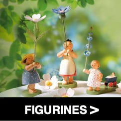 German Figurines - 3 mini children with green nature background - shop now