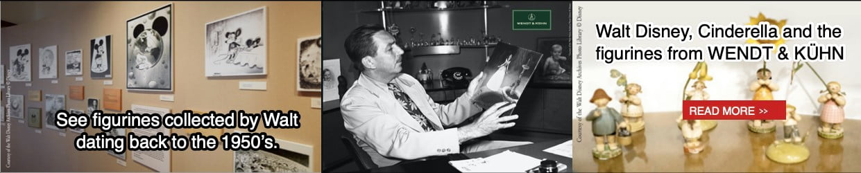 1950s Walt Disney sitting in his chair holding picture of Cinderella. Back walls show shelf with figurines Walt collected.