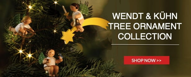 Wendt & Kühn Tree Ornament Collection - tiny heavenly Angels are suspended in golden rings and on crescent moons, riding on stars and comet tails.